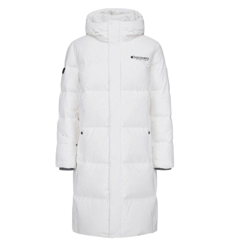 Discovery Expedition Leicester G Big Logo Goose Down Long Padded Jackets Off White DMDJ67061-OW  - HALLYU MART