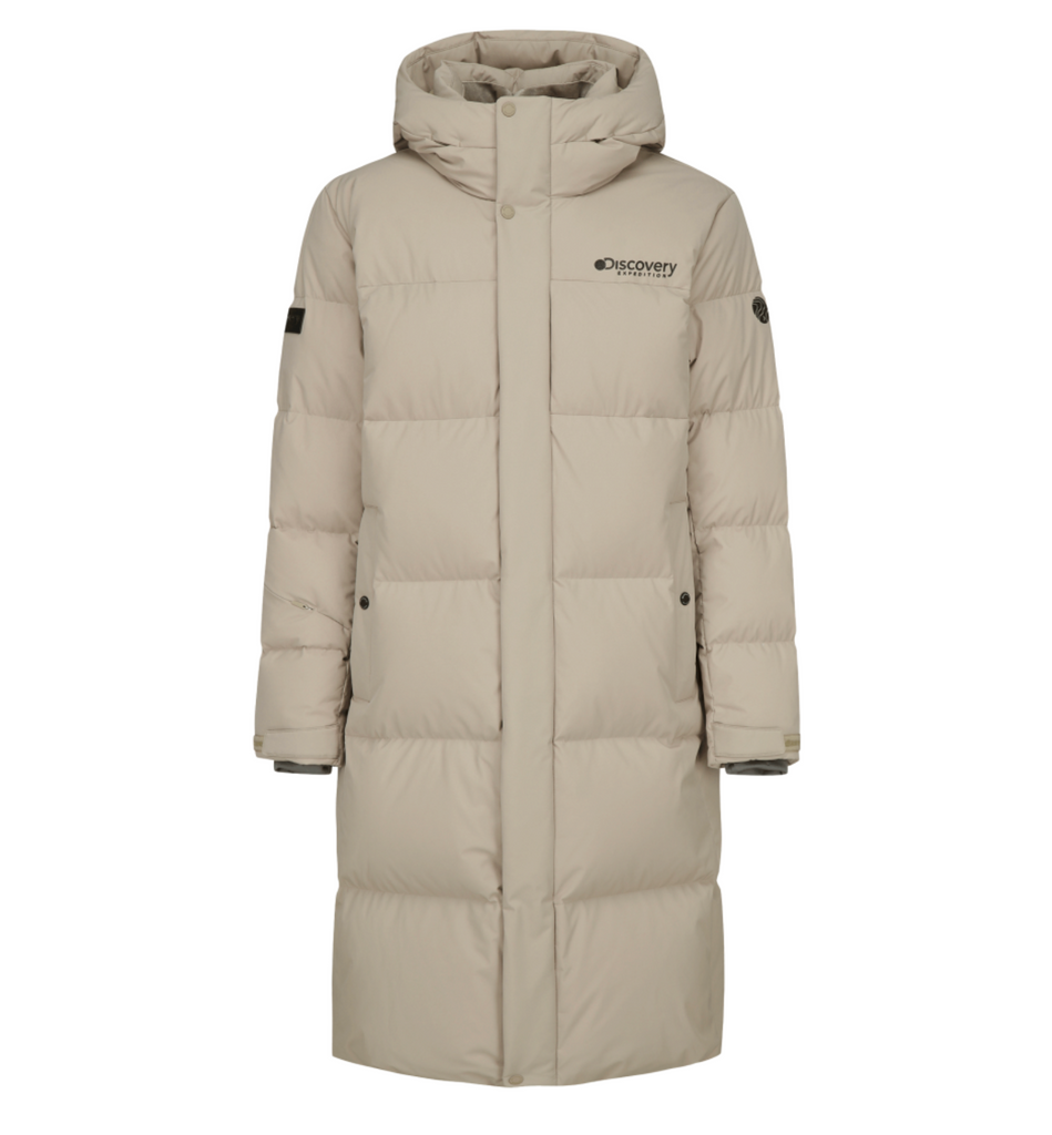 Discovery Expedition Leicester G Big Logo Goose Down Long Padded Jackets Beige DMDJ67061-BG  - HALLYU MART