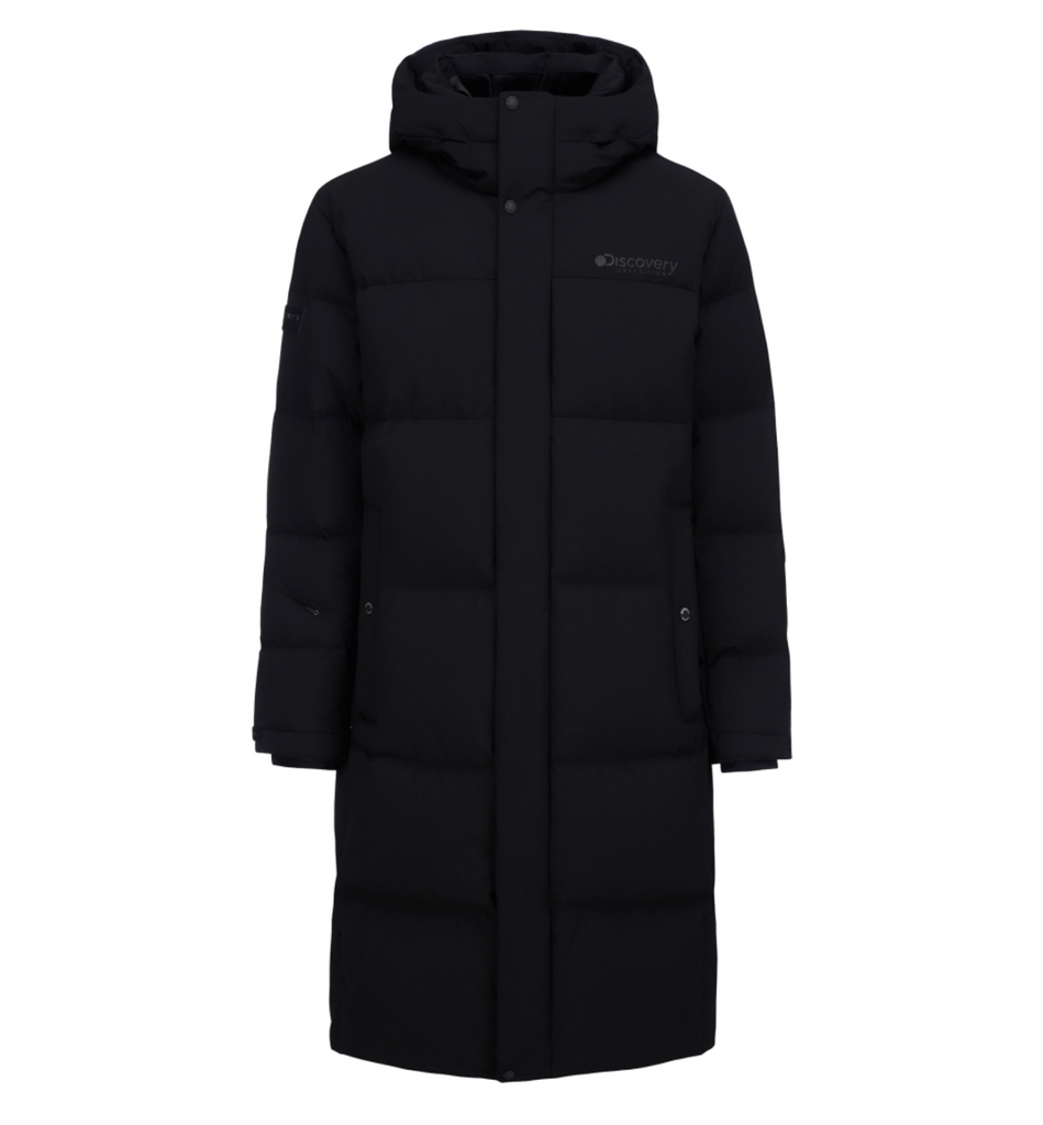 Discovery Expedition Leicester G Big Logo Goose Down Long Padded Jackets Black DMDJ67061-BB  - HALLYU MART