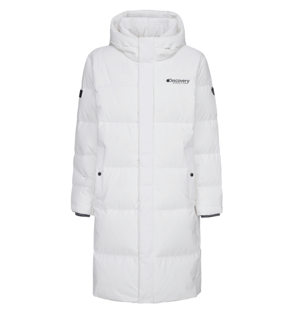 Discovery Expedition Leicester G Big Logo Goose Down Long Padded Jackets White DMDJ67061-WH  - HALLYU MART