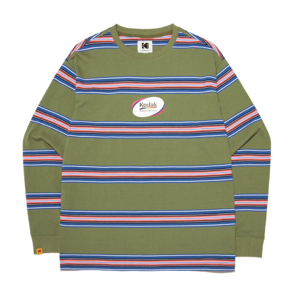 Kodak Apparel Rainbow Stripe Long Sleeve T-shirts  - HALLYU MART