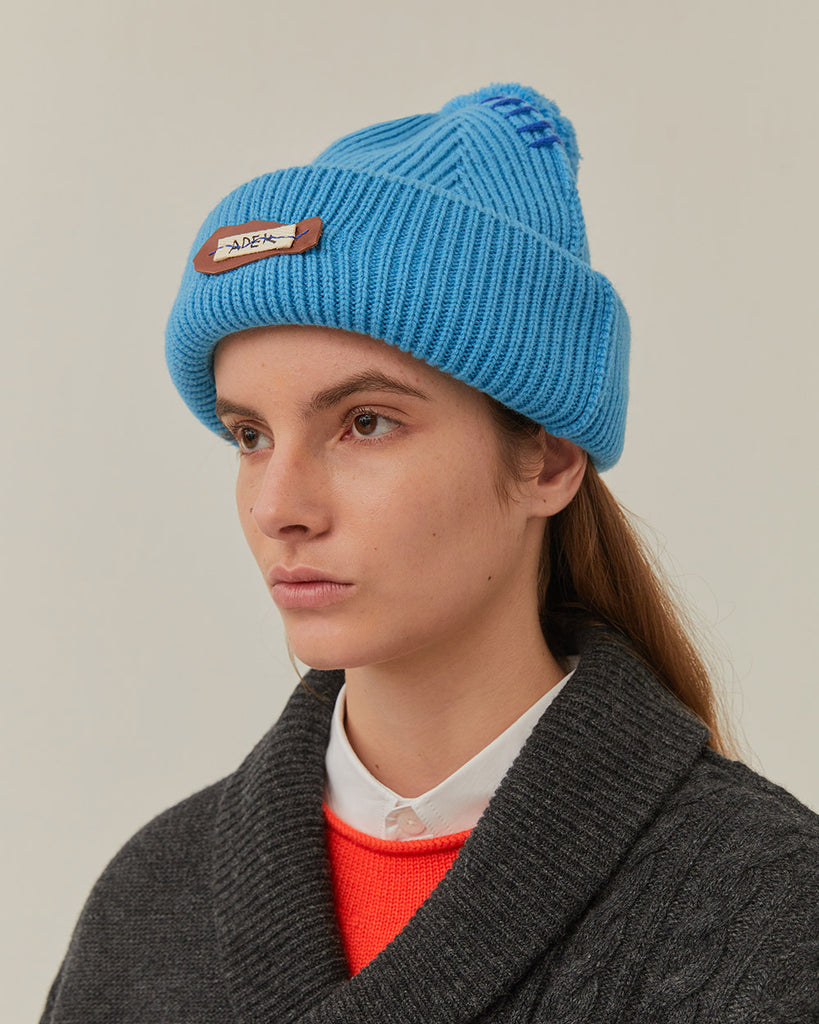 Adererror Crumple Leather Patch Beanie Sky Blue  - HALLYU MART