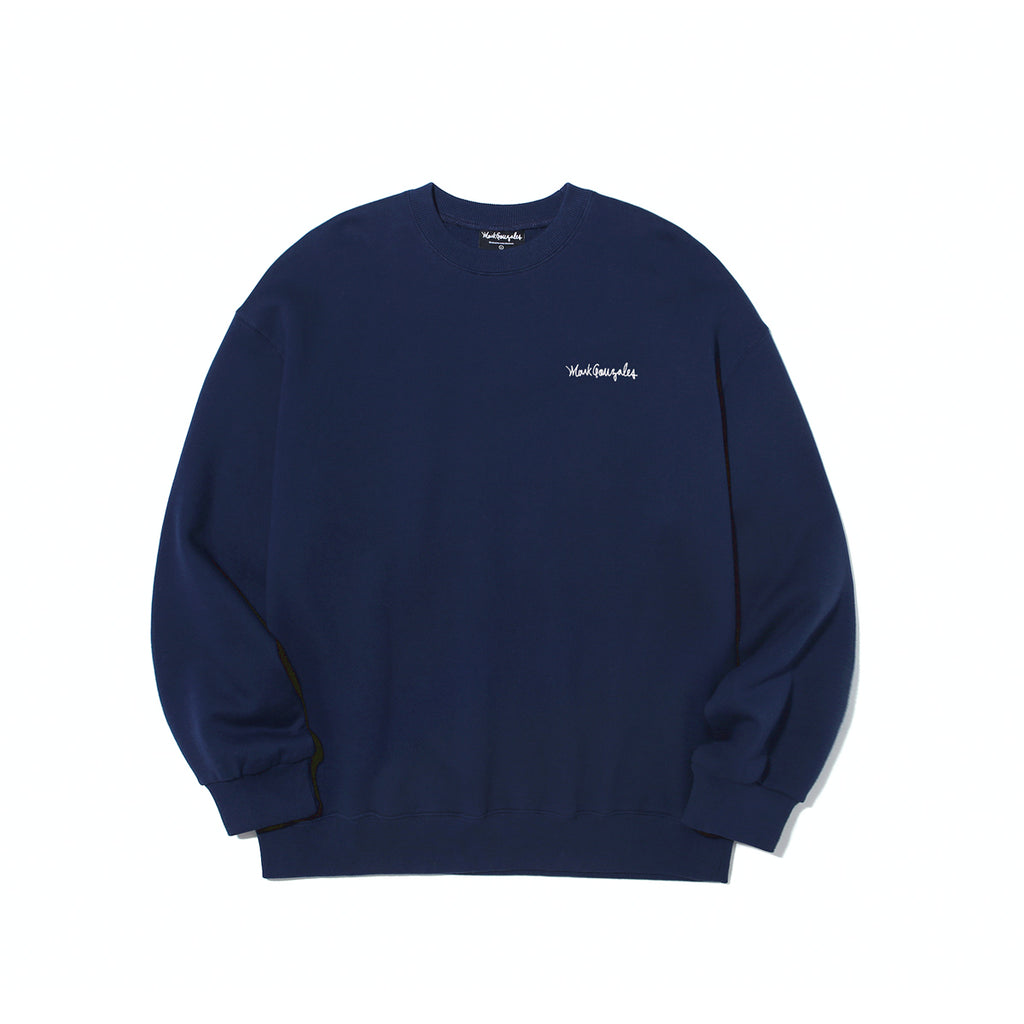 Mark Gonzales M/G Small Sign Logo Crewneck T-shirts Navy  - HALLYU MART