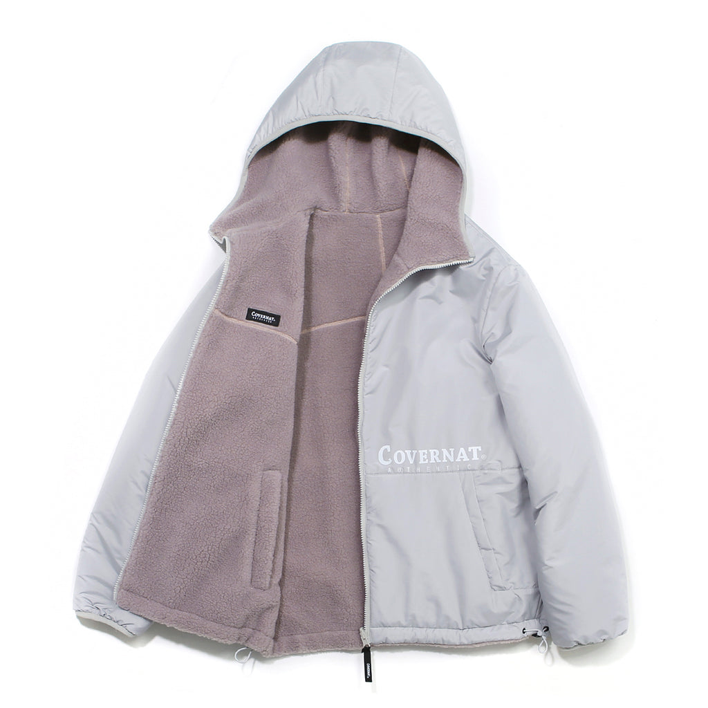 Covernat Reversible Fleece Warm Up Jacket GY/PK  - HALLYU MART