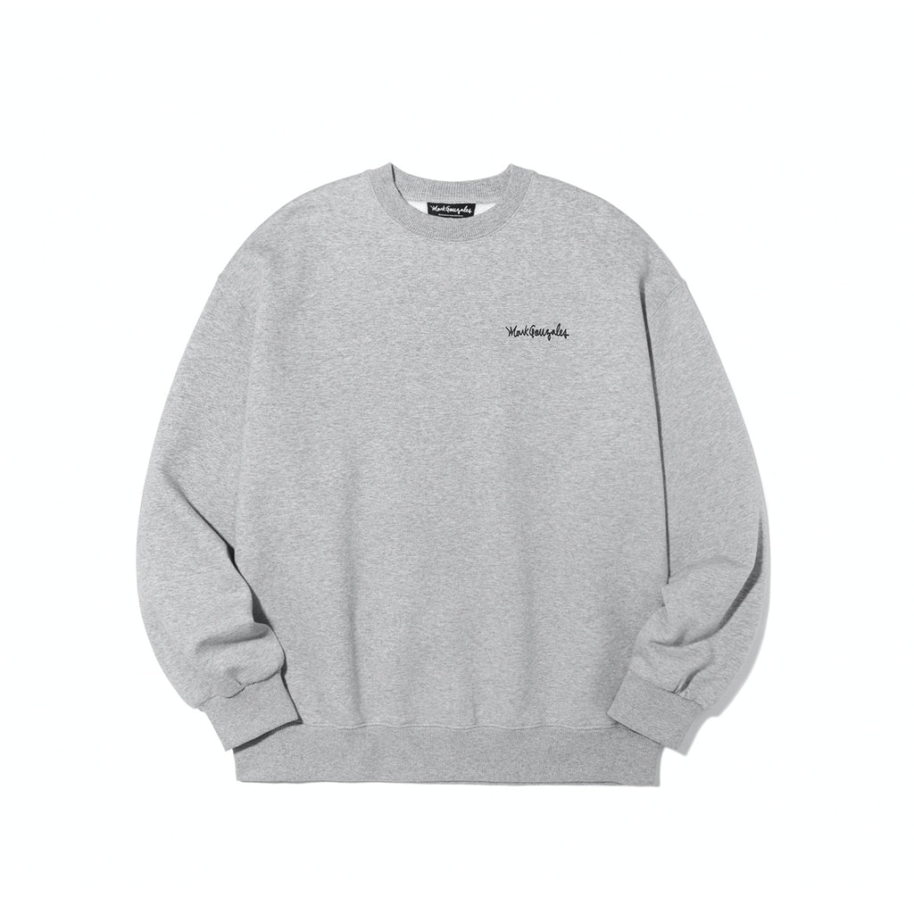 Mark Gonzales M/G Small Sign Logo Crewneck T-shirts Grey  - HALLYU MART