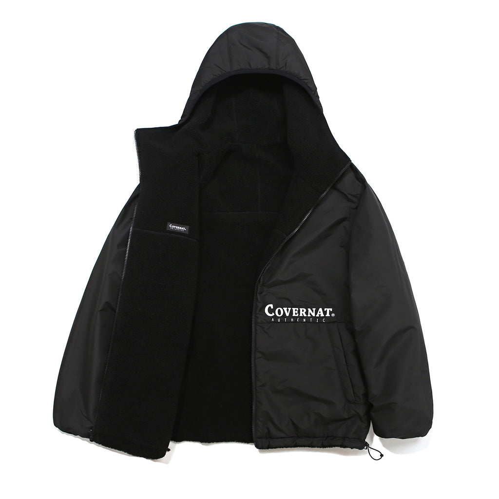 Covernat Reversible Fleece Warm Up Jacket Black  - HALLYU MART