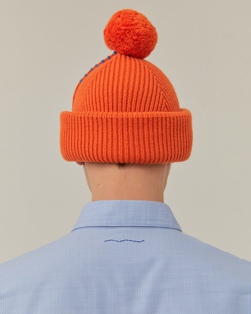 Adererror Crumple Leather Patch Beanie Orange  - HALLYU MART