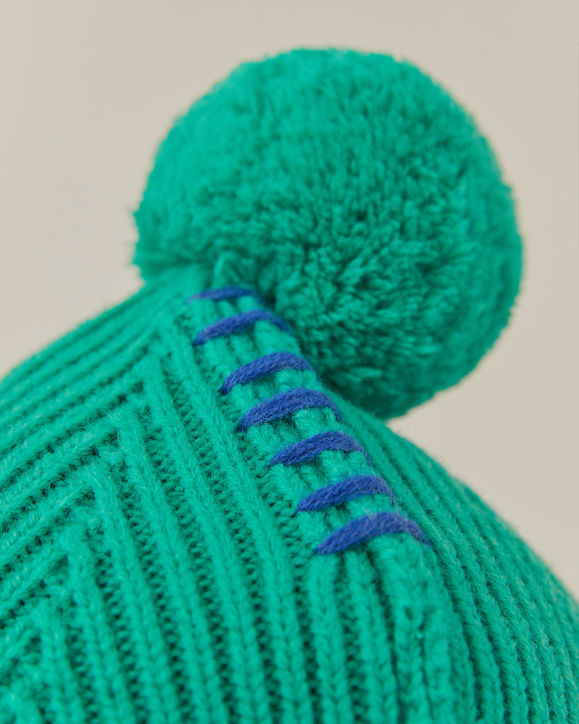 Adererror Crumple Leather Patch Beanie Turquoise  - HALLYU MART