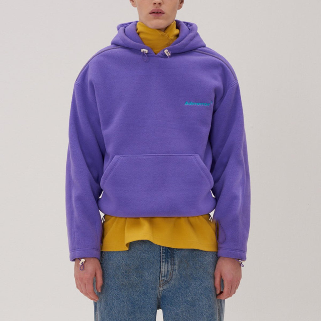 Adererror Unisex Warm Fleece Hoodie Purple  - HALLYU MART
