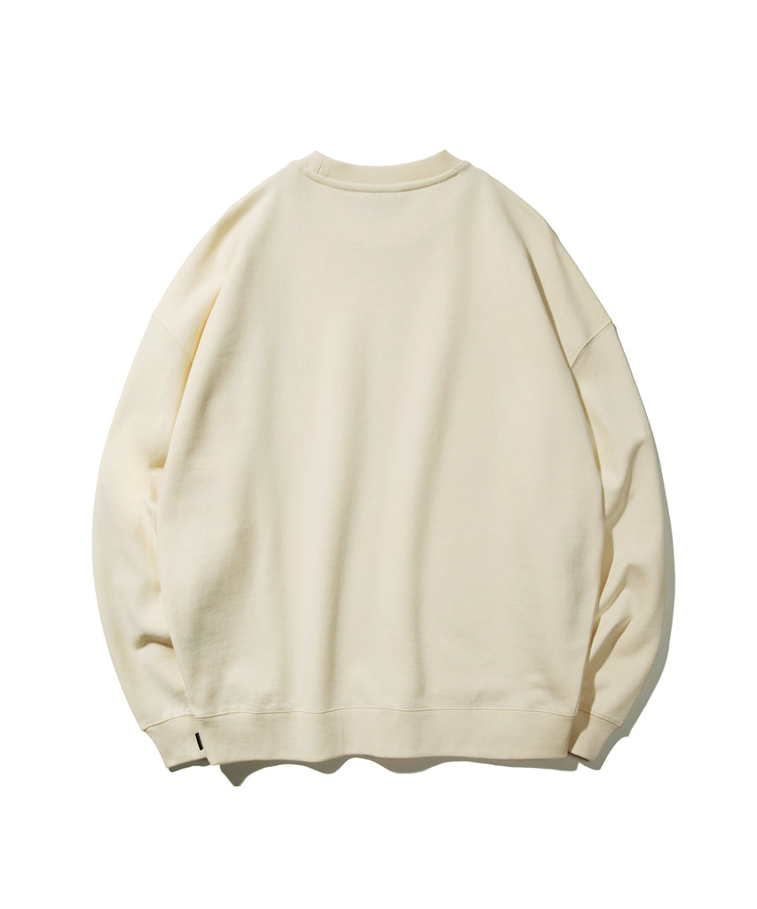 Covernat Small Sign Logo Crewneck Sweatshirt Cream  - HALLYU MART