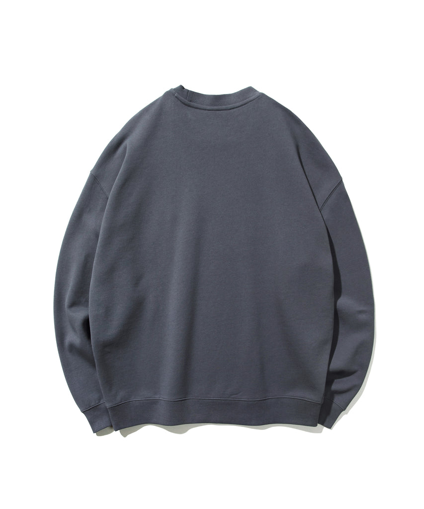 Covernat Small Sign Logo Crewneck Sweatshirt Charcoal  - HALLYU MART