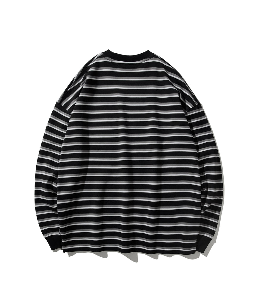 Covernat Stripe Long Sleeve T-shirts Black  - HALLYU MART