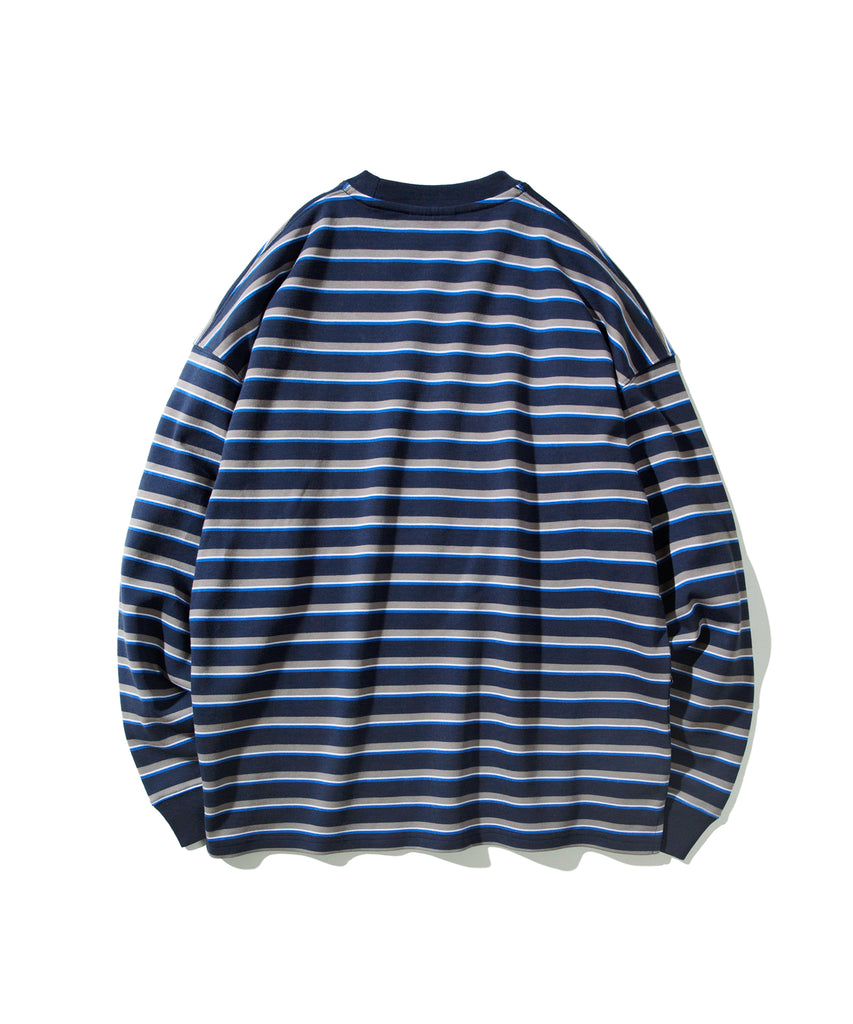 Covernat Stripe Long Sleeve T-shirts Navy  - HALLYU MART
