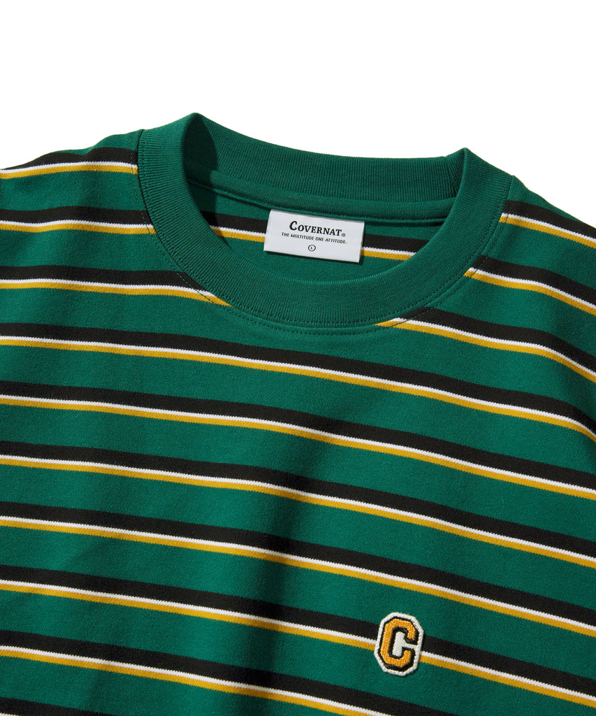 Covernat Stripe Long Sleeve T-shirts Green  - HALLYU MART