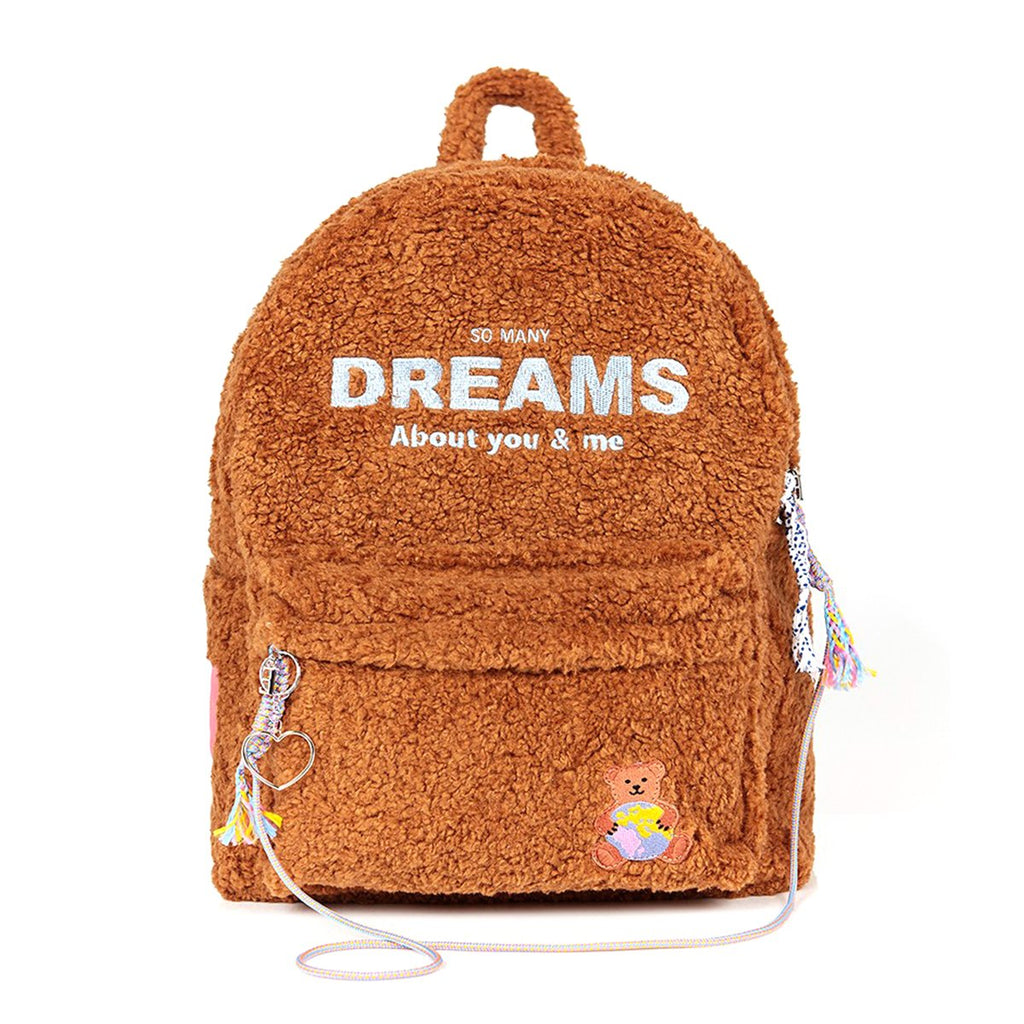 Entre Reves Brown Bear Dreams Brown Backpack-kr-HALLYU MART