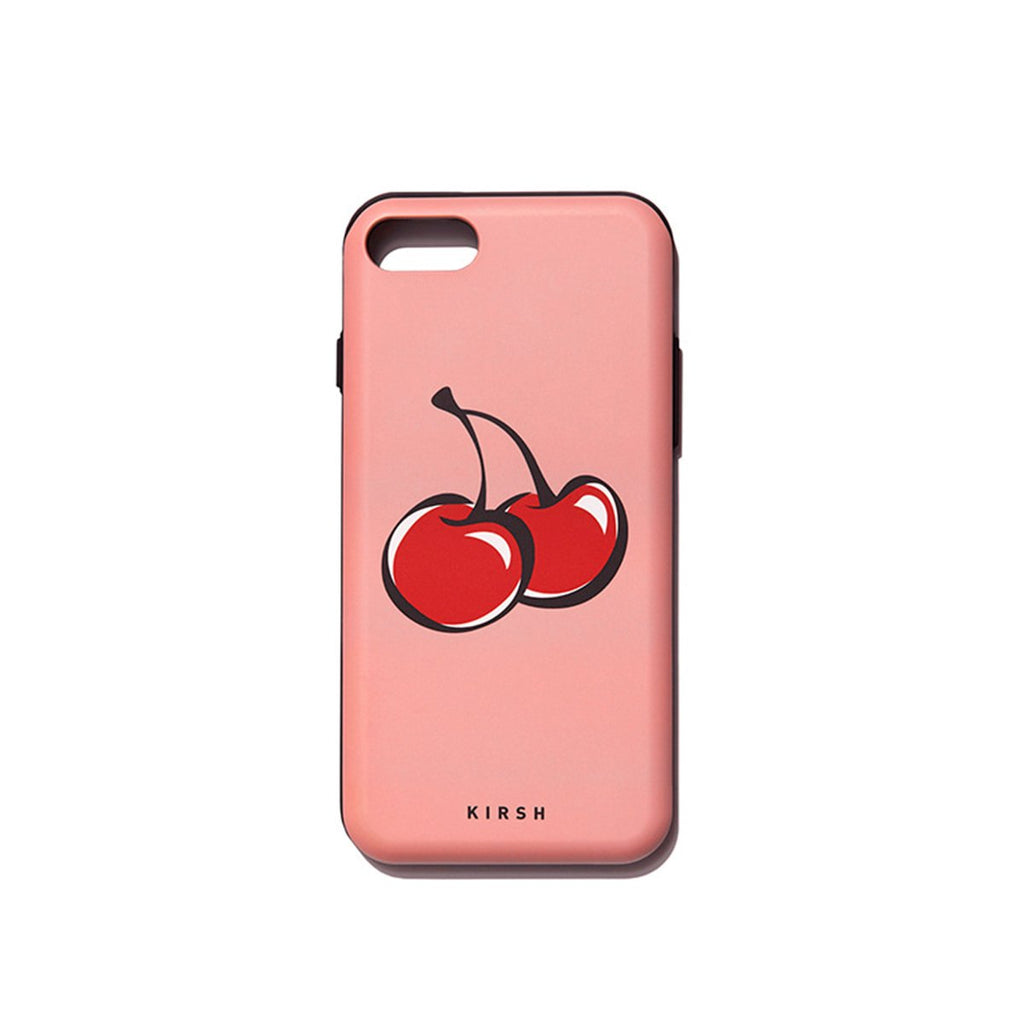 Kirsh 19S/S Heart Cherry Bumper Phone Case Is Peach Pig  - HALLYU MART
