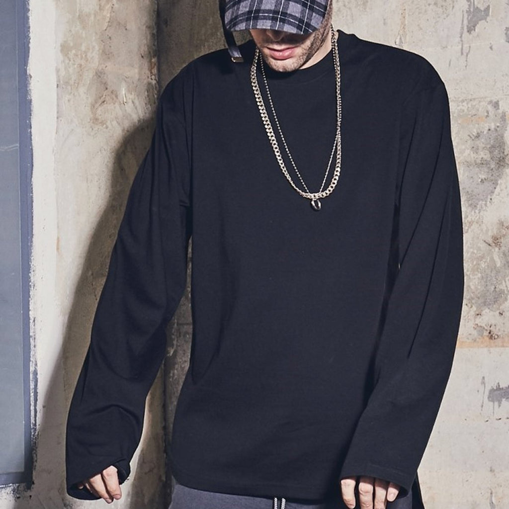 Laul Over Fit Long Sleeve Tee Black  - HALLYU MART