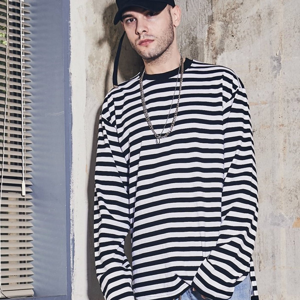 Laul Over Fit Long Sleeve Tee Black Stripe  - HALLYU MART