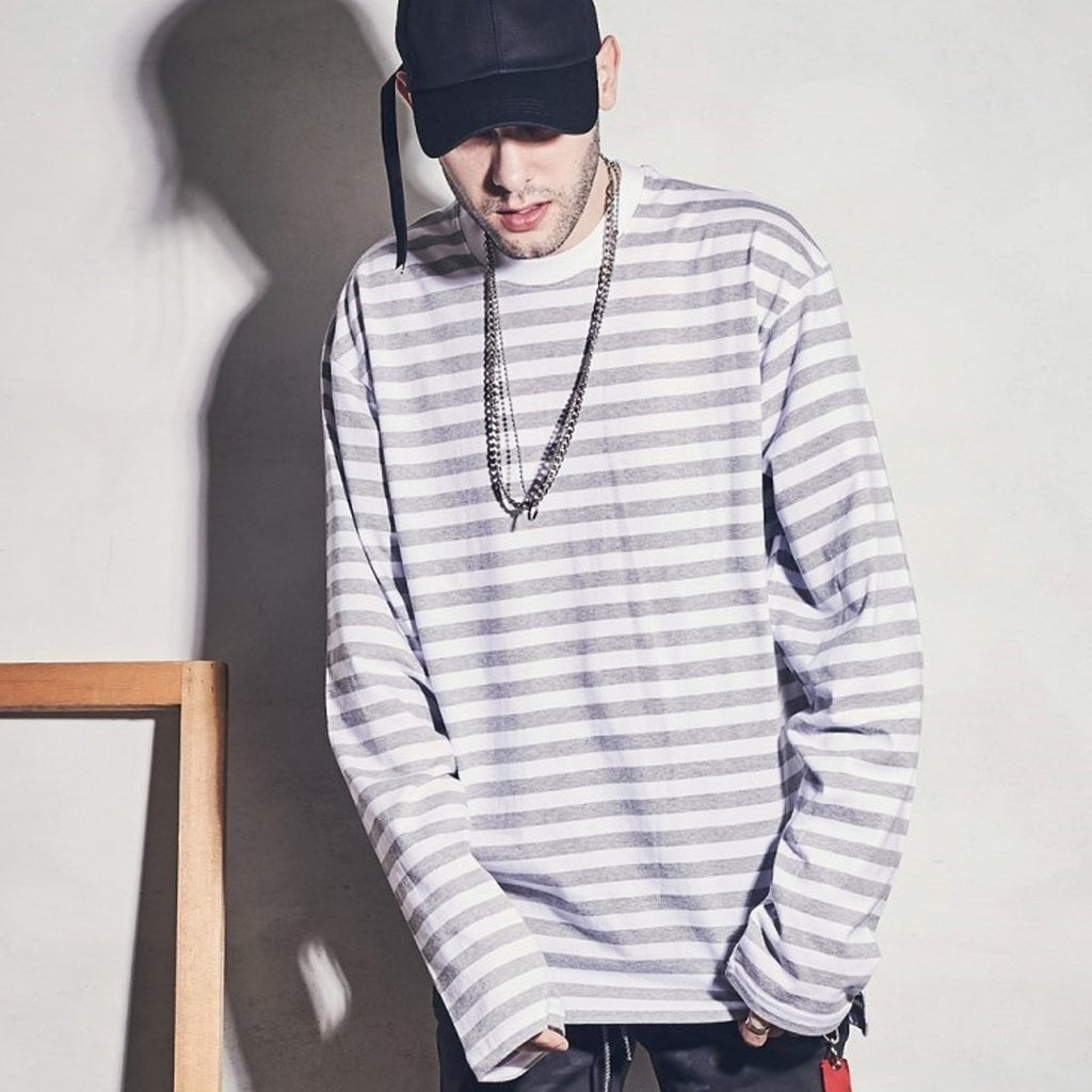 Laul Over Fit Long Sleeve Tee Grey Stripe  - HALLYU MART