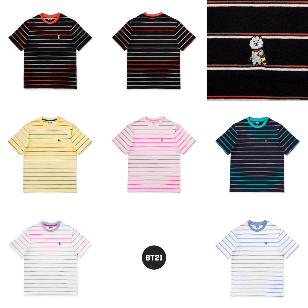 Line Friends BT21 Basic Striped Short Sleeve Polo T-shirts-BT21-HALLYU MART