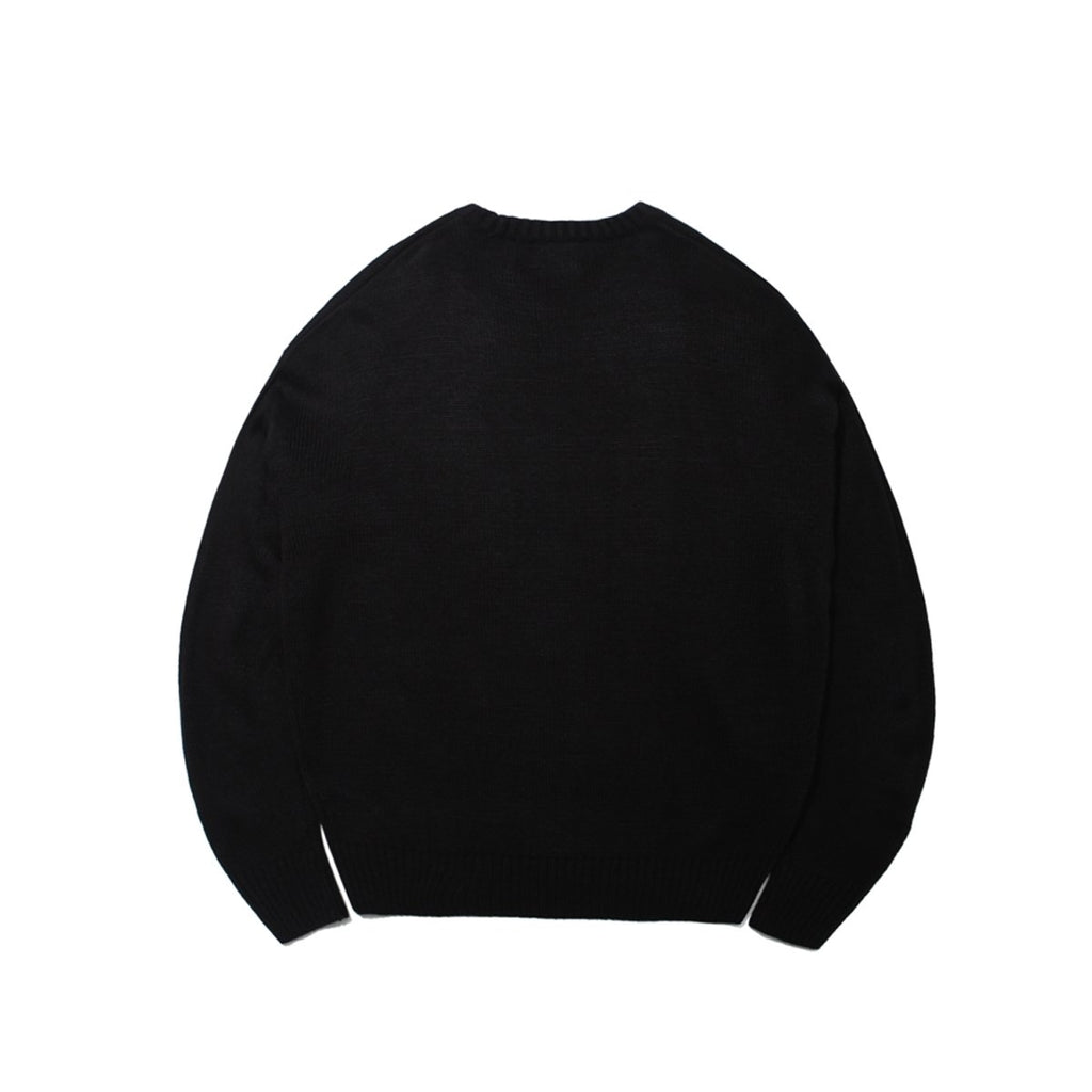 Mark Gonzales M/G Angel Applique Crewneck Knit T-shirts Black-Mark Gonzales-HALLYU MART