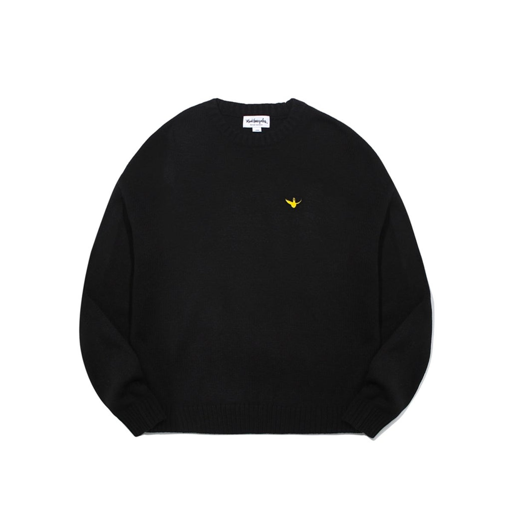 Mark Gonzales M/G Angel Wappen Crewneck Knit T-shirts Black-Mark Gonzales-HALLYU MART
