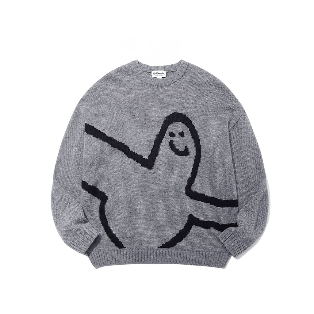 Mark Gonzales M/G Big Angel Crewneck Knit T-shirts Grey-Mark Gonzales-HALLYU MART