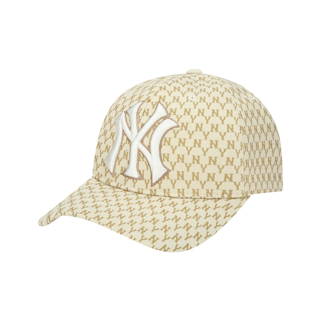 MLB New York Yankees MLB Monogram Curve Adjustable Hats Beige 32CPFB911-50B-MLB-HALLYU MART