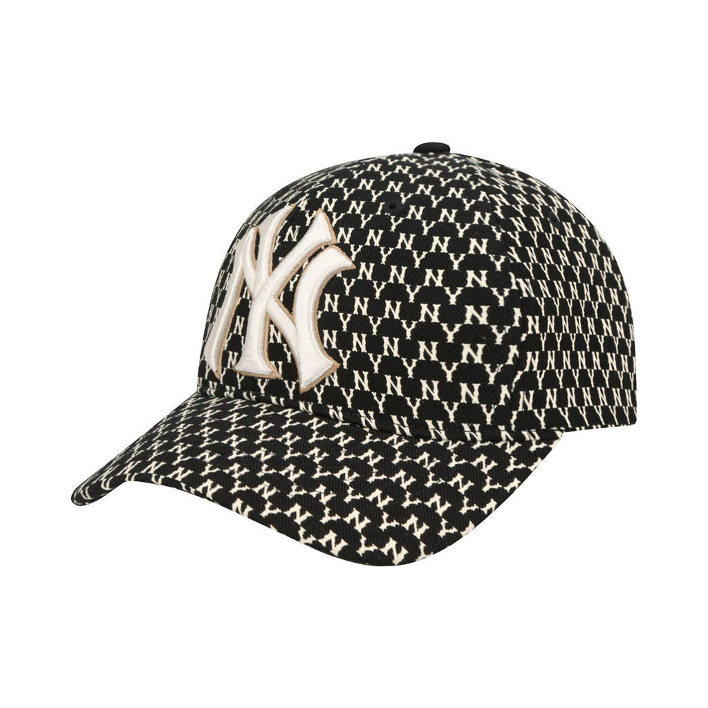 MLB New York Yankees MLB Monogram Curve Adjustable Hats Black 32CPFB911-50L-MLB-HALLYU MART