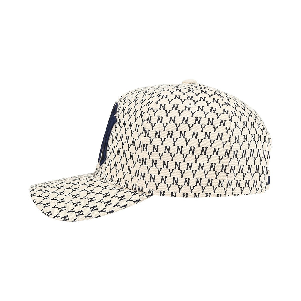 MLB New York Yankees MLB Monogram Curve Adjustable Hats Ivory 32CPFB911-50I-MLB-HALLYU MART
