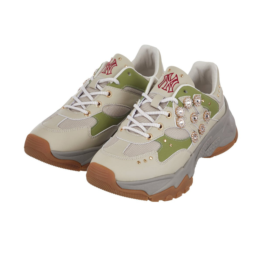 MLB Women New York Yankees Sneakers Keystone Chunky Dad Shoes Beige 32SHC3911-50K-MLB-HALLYU MART