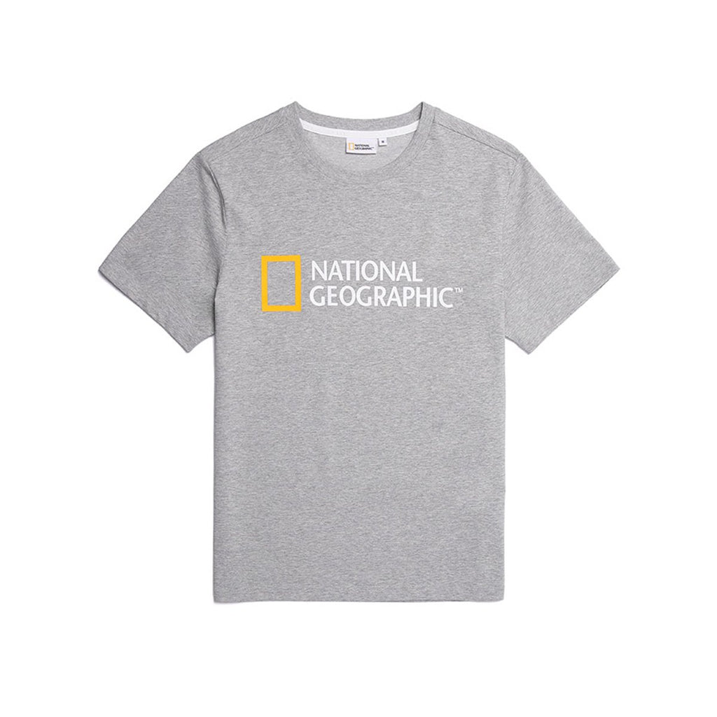 National Geographic Neodi Big Logo Basic T-shirts Grey N195UTS020093-National Geographic-HALLYU MART