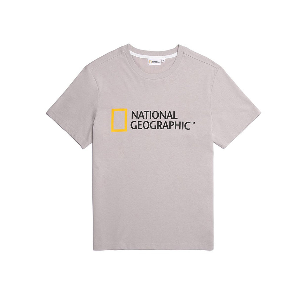 National Geographic Neodi Big Logo Basic T-shirts Light Grey N195UTS920091-National Geographic-HALLYU MART