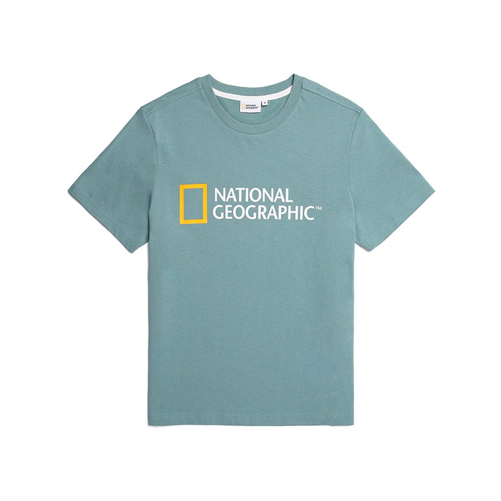 National Geographic Neodi Big Logo Basic T-shirts Turqious N195UTS920301-National Geographic-HALLYU MART