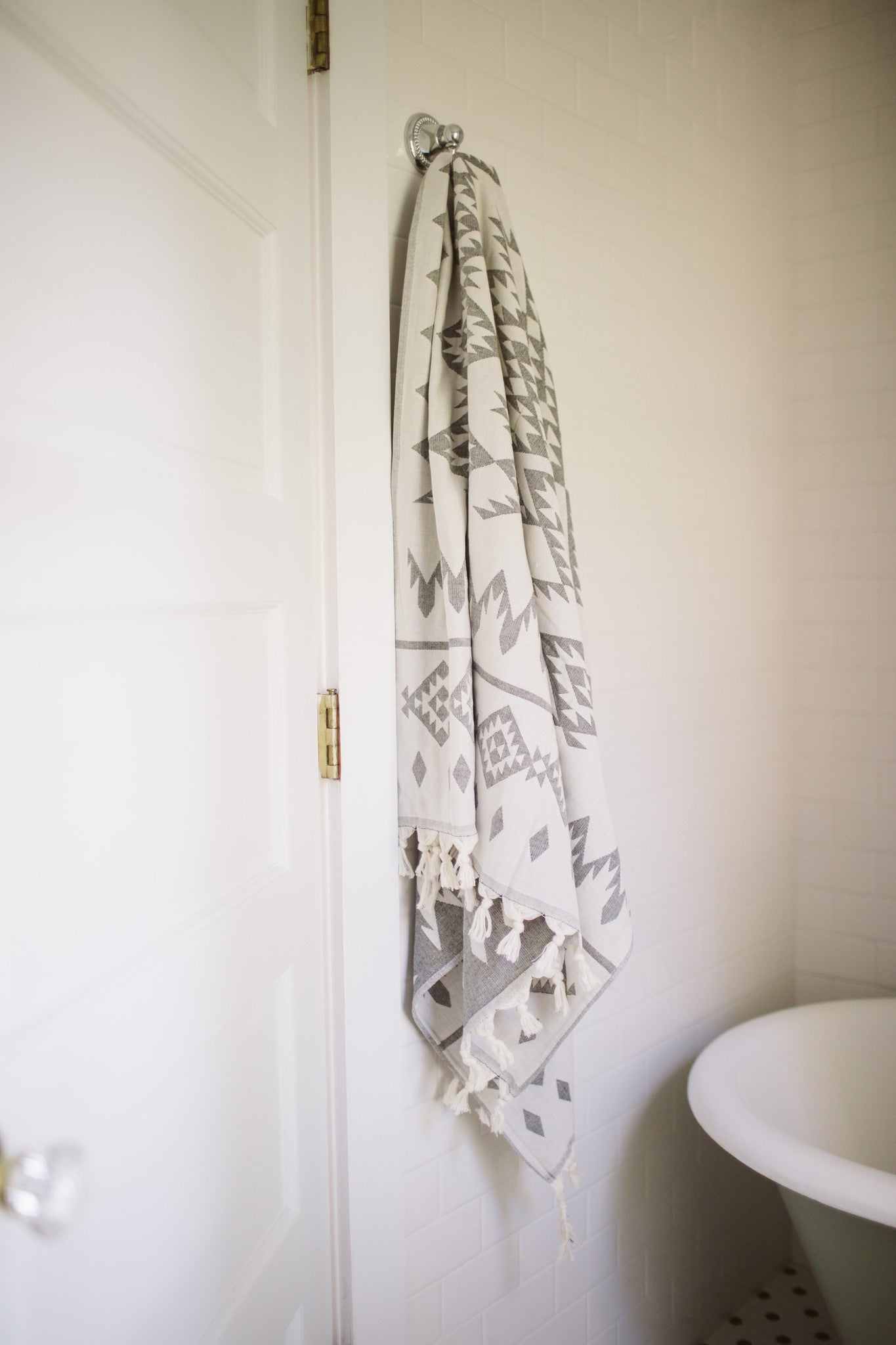 Chevron bathroom sets with shower curtain and rugs - Turkish Towel Kilim