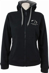 Equestrian Victoria Women's Polar Fleece Lined Hoodie - Navy/Grey