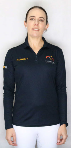 EA Coach Cotton Backed Breathable Polyester Long Sleeve Polo Shirt