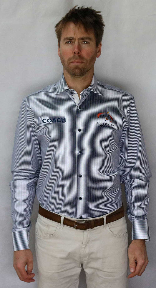 EA Coach 100% Cotton Striped Long Sleeve Business Shirt