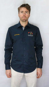 EA Official 100% Cotton Navy Long Sleeve Business Shirt