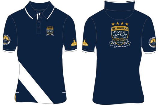 2019 MI3DE  Navy Gold Stripe Polo Shirt