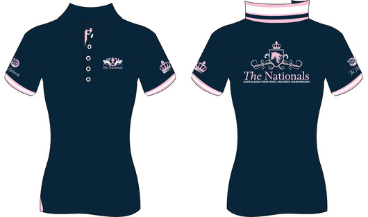 2019 Show Horse Nationals Navy Pink Rib Knit Collar Polo