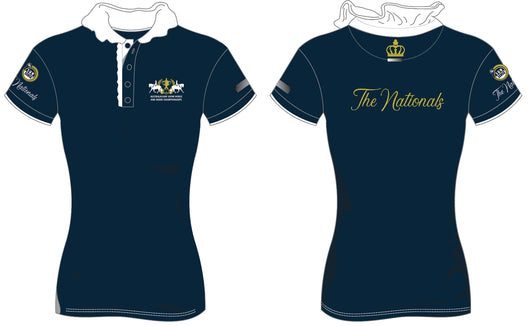 2019 Show Horse Nationals Navy Gold Ruffle Polo