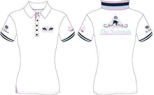 2019 Show Horse Nationals White Pink Rib Knit Collar Polo