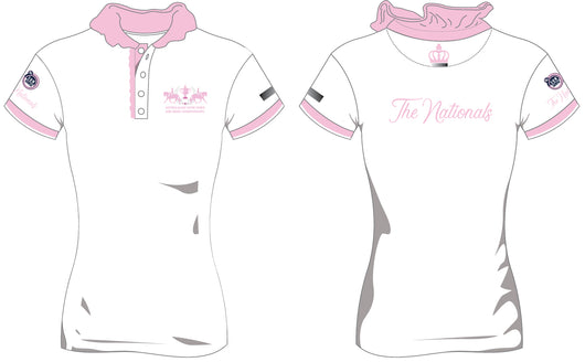 2019 Show Horse Nationals White Pink Ruffle Polo