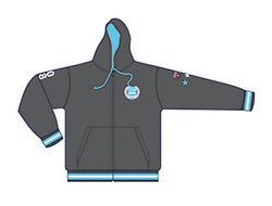 MI3DE Fleece Zip Hoodie Grey Aqua