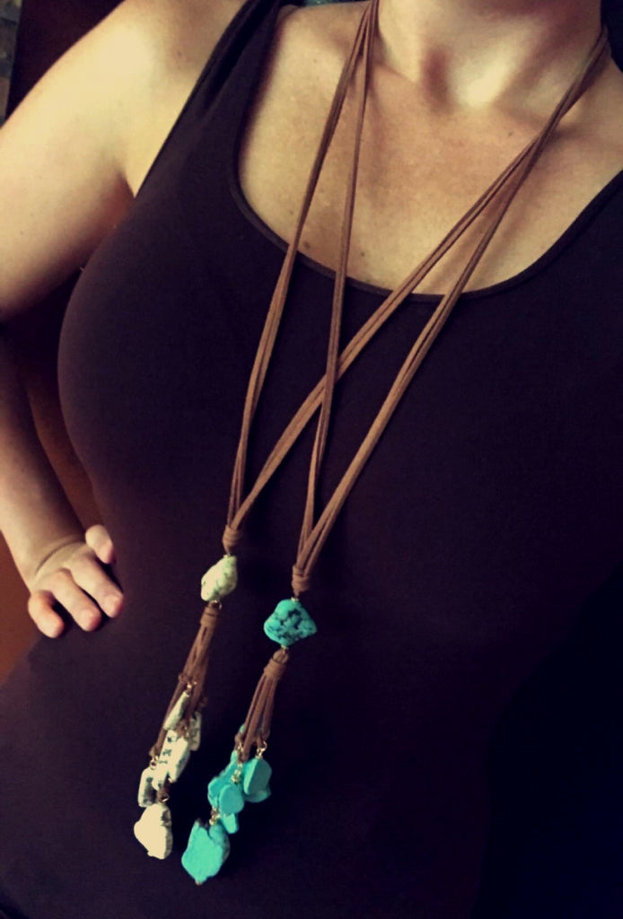 Leather Long Gem Necklace Set w/ Earrings