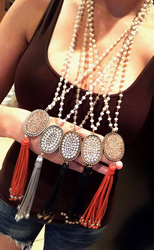 Beaded Long Necklace with Oval Rhinestone Leather Tassel