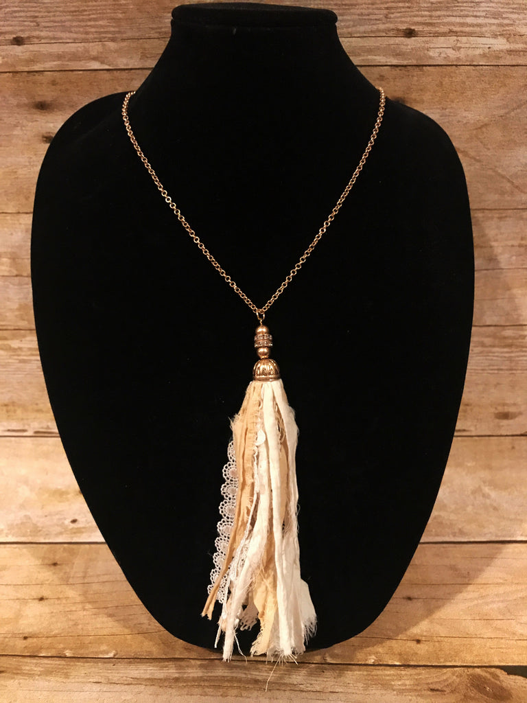 Gold/Cream Lace Tassel Necklace