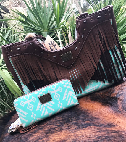 Feathered Cowhide Clutch