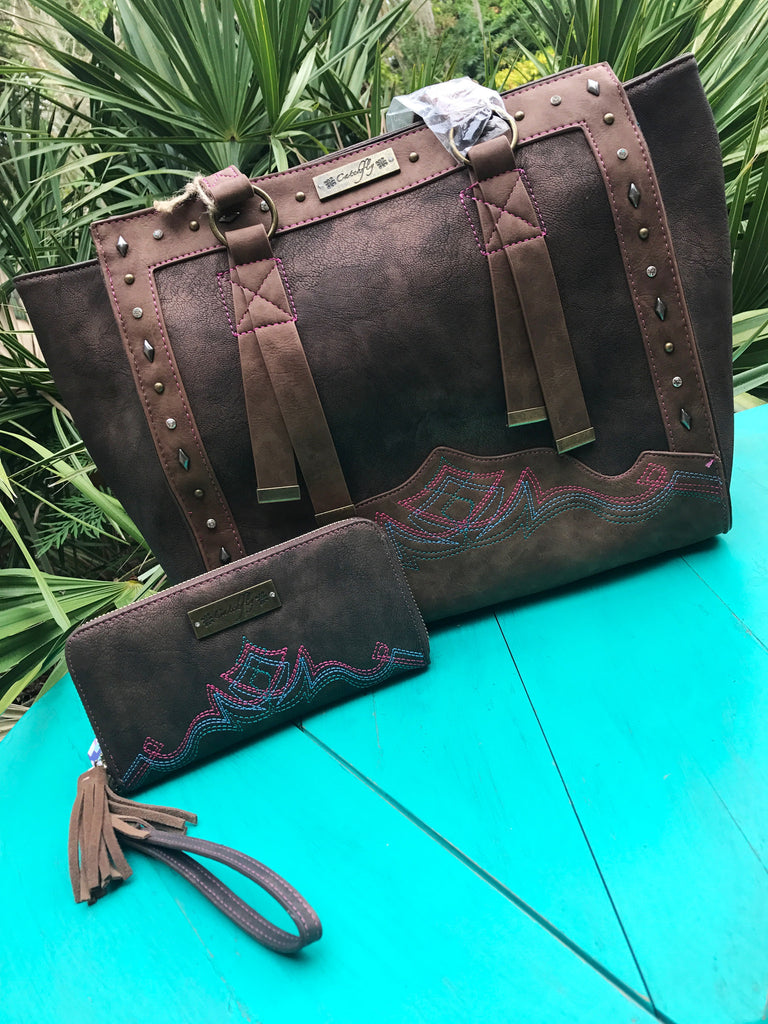 Bronze Catchfly Tote and Wallet Set